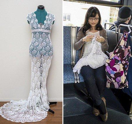 ที่สุดของความพยายาม เธอคนนี้ถักชุดแต่งงานระหว่างนั่งรถเมล์